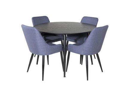 Dipp matbord och grå fåtöljer